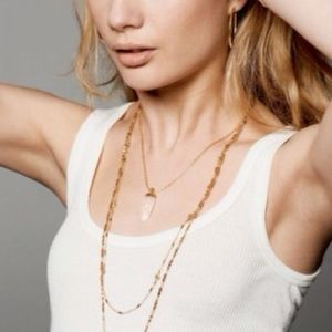Stella & Dot Aria crystal gold pendant necklace